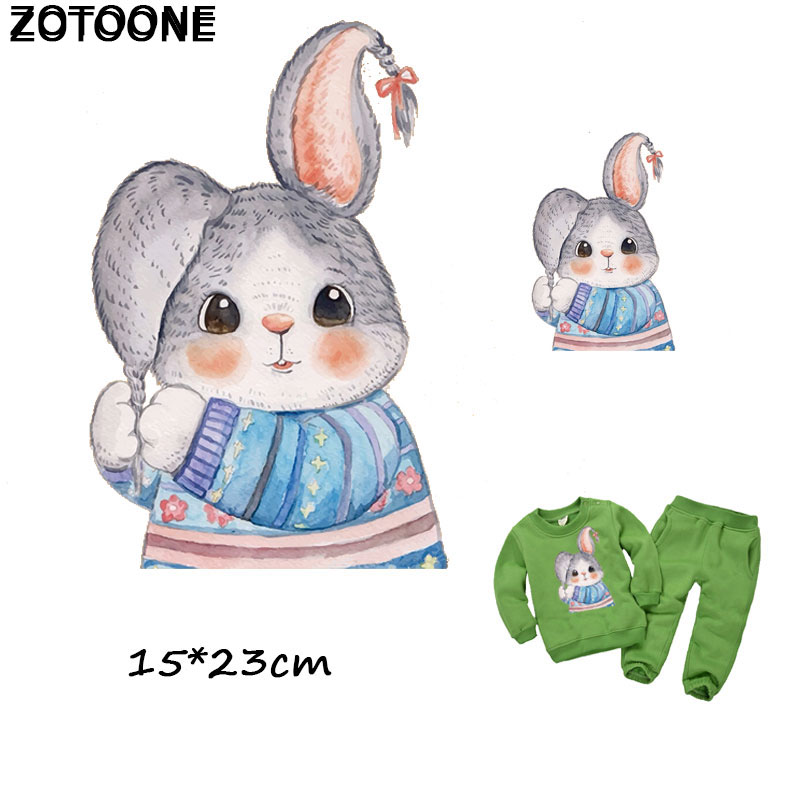 ZOTOONE Cartoon Cute Bunny Patch Heat Transfer Iron on Patches for Clothes Decoration DIY Stripes Applique T-shirt Custom