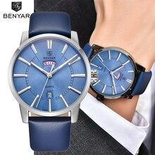 лучшая цена BENYAR Fashion Casual Men's Watches Top Brand Luxury Double Calendar Quartz Watch Business Men's Wristwatch Clock Reloj Hombre
