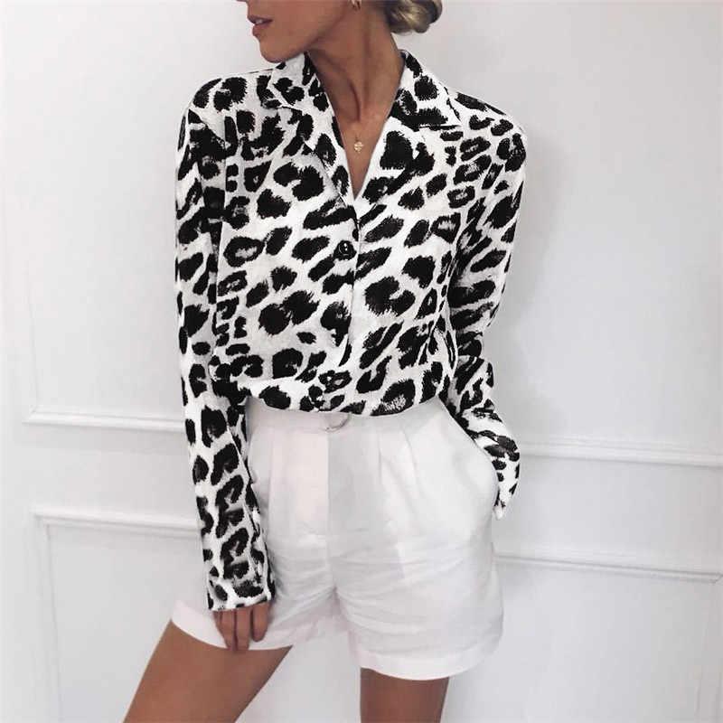 65850174a4a 2019 Для женщин блузка с леопардовым принтом рубашка с длинным рукавом  Свободные Блузки Плюс Размеры шифоновая