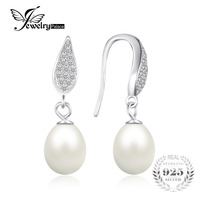 JewelryPalace 925 Sterling Silver Freshwater Cultured 8 9mm White Pearl Dangle Earrings Statement Fine Jewelry For