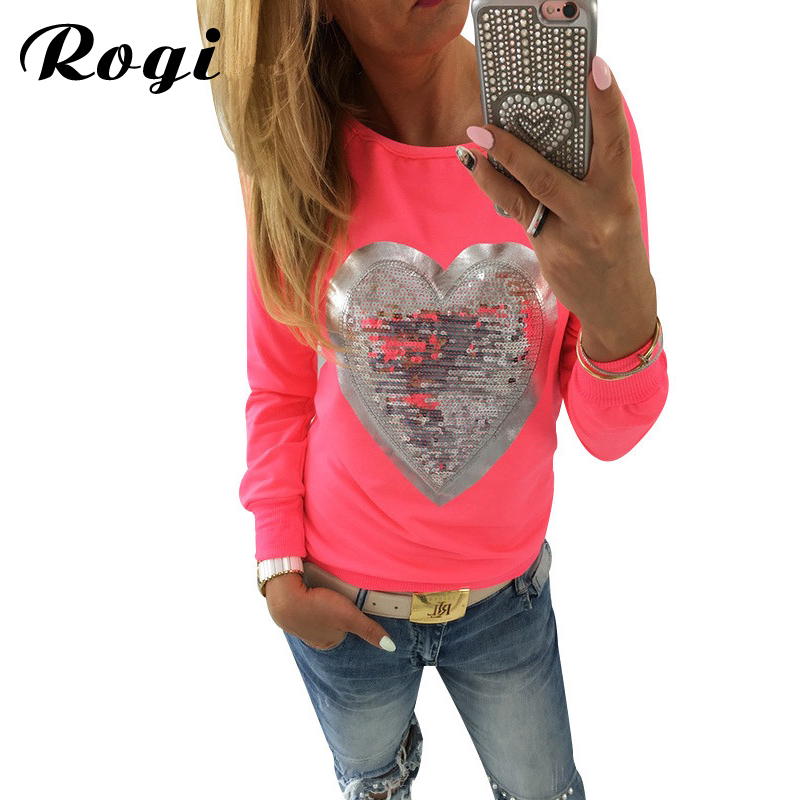 Rogi Womens Hoodies 2019 Fashion Long Sleeve Female Sweatshirt Jumper Lovely Sequined Heart Pullovers Hoody Lady Tracksuits Tops(China)