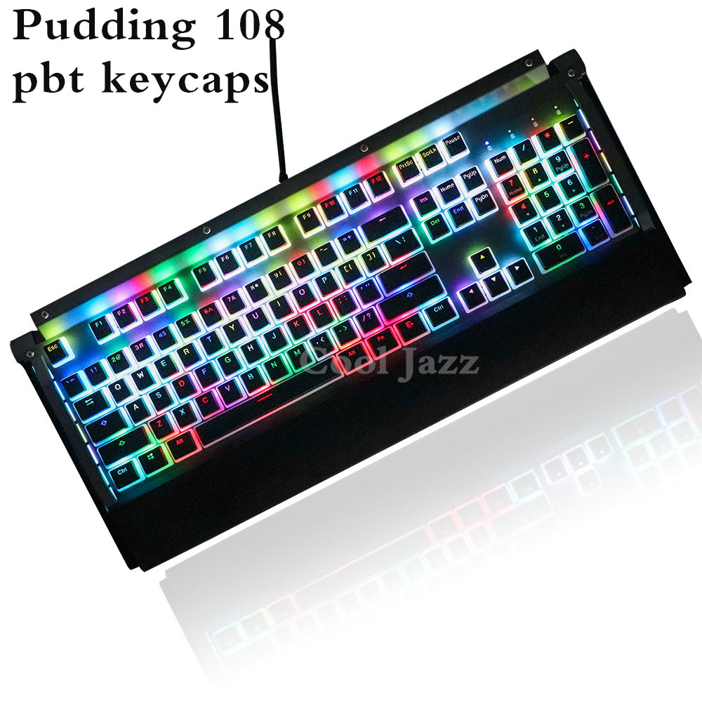 Double Shot 108 Key ANSI Layout PBT OEM Profile Pudding Double-Skin Backlit  Keycap For Mechanical Gaming Keyboard MX Switches