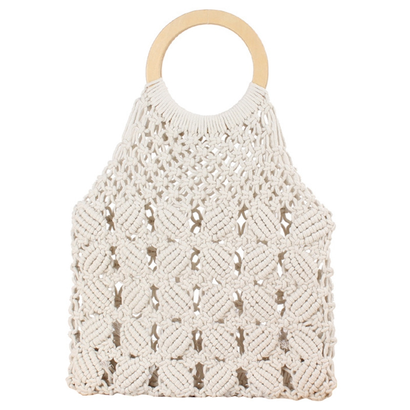 TFTP-Rattan Cotton Rope Hollow Straw Woven Beach Bag Without Lining Storage Bag Fashion Women'S Totes Fashion Shoulder Bags