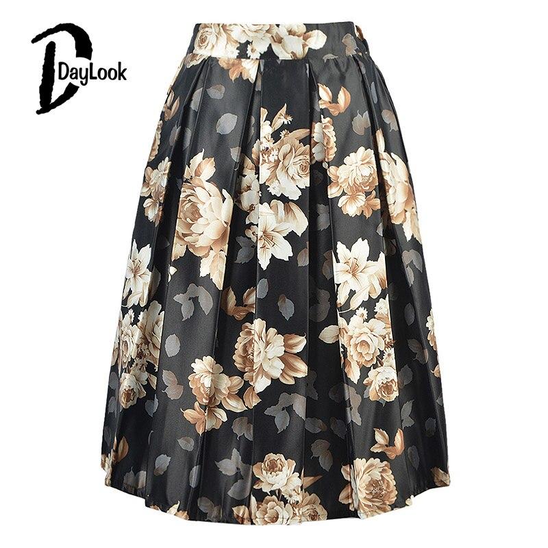 DayLook Daylook лето chic vintage черный цветочные мода юбки женская плиссированные юбки конькобежец юбка элегантный высокой талией midi бальное платье