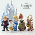 6 Pçs/set Disney Brinquedos 8-16 cm Congelado Princesa Castelo Palácio do Gelo Play Set Casa Anna Elsa Olaf Ação figura Coleção Toy Boneca