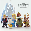 6Pcs/Set Disney Toys  8-16cm Frozen Princess Castle  Ice Palace Play Set House Anna Elsa Olaf Action Figure Toy Collection Doll