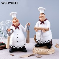 1Pc American Style Resin Chef Figurine Creative White Top Hat Cook Kitchen Decor Home Crafts Christmas