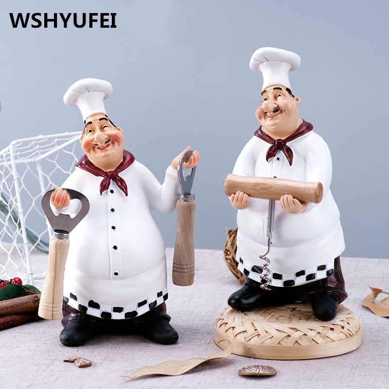 Retro Chef Model Home Decoration Accessories Resin Crafts Mini Chef Figurines Kitchen Home Decor With Bottle Opener Spice Jar