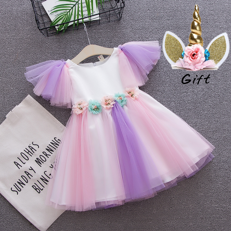 Cartoon Unicorn toddler girls flower lace dress children rainbow colors tulle dress+ headband lovely kids sundress