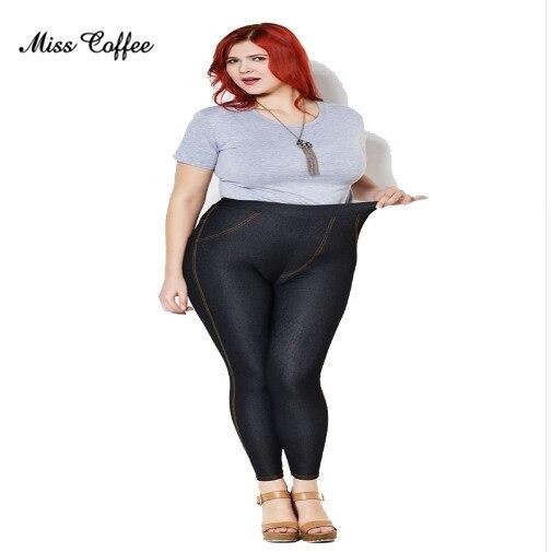 2018 Women Faux jeans Pants Plus Size Xl-5xl High Elastic Sexy Skinny Thin Black Denim Hip Pencil Mid Waist Pocket   Leggings