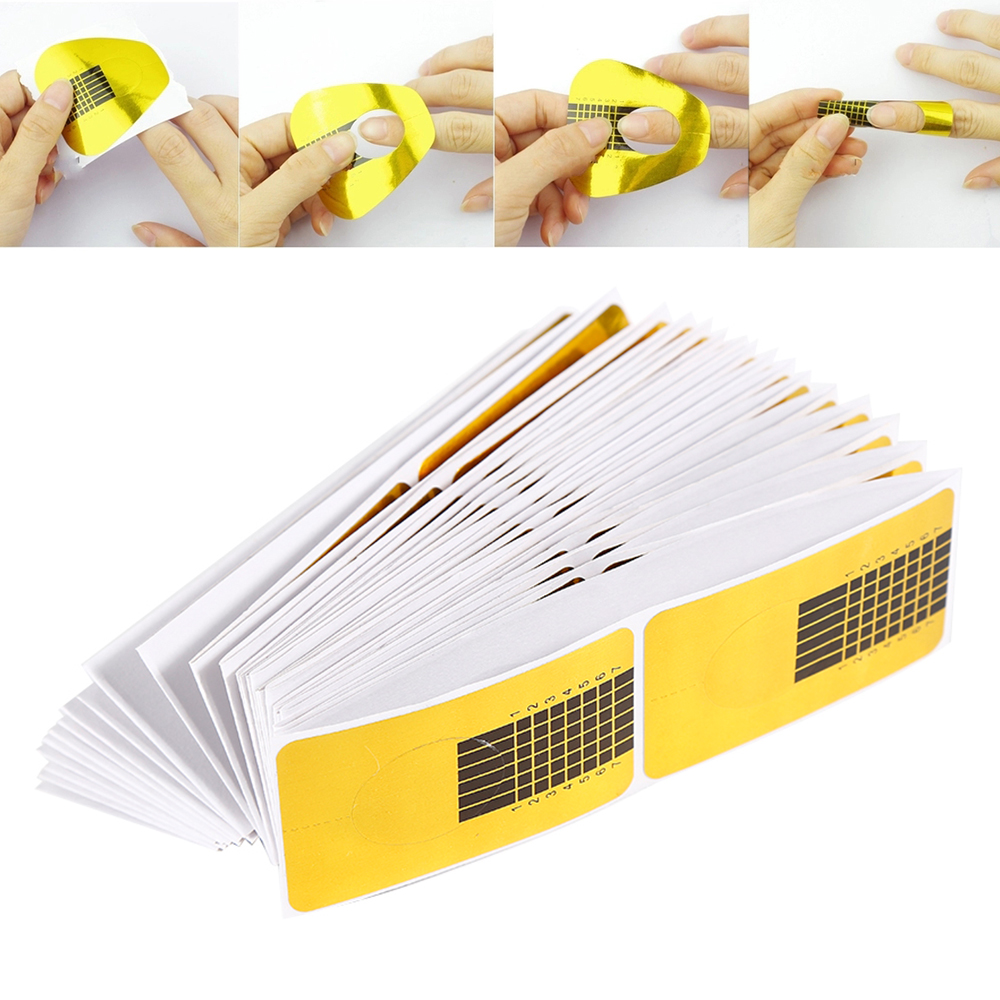 ELECOOL 100/50pcs Golden Nail Art French Tips Sculpting Acrylic UV Gel Tips Extending Nail Tools Extension Forms Guide DIY Kit hotnew 2pcs chic diy 18 style french manicure nail art tips tape sticker guide stencil 2mnu 2syh 7cx3