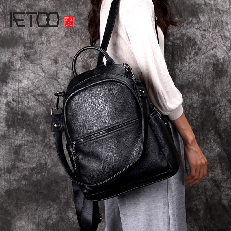 AETOO Backpack New Real Leather Ladies Bag Wild Leather Korean Fashion Casual Soft Genuineleather Simple Backpack