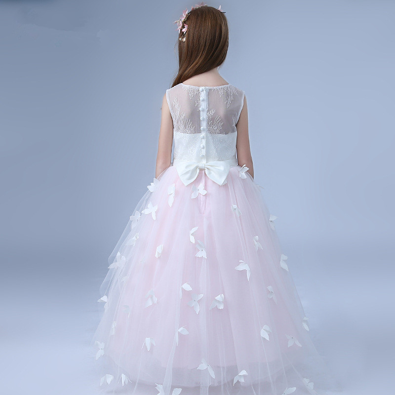 cff8036d45ed1 US $40.83 41% OFF|Formal Princess Long Girls Dress Wedding White Pink Fancy  Flower Girl Vestido 2018 Kid Clothes 3 4 6 8 10 12 14 Years RKF184018-in ...