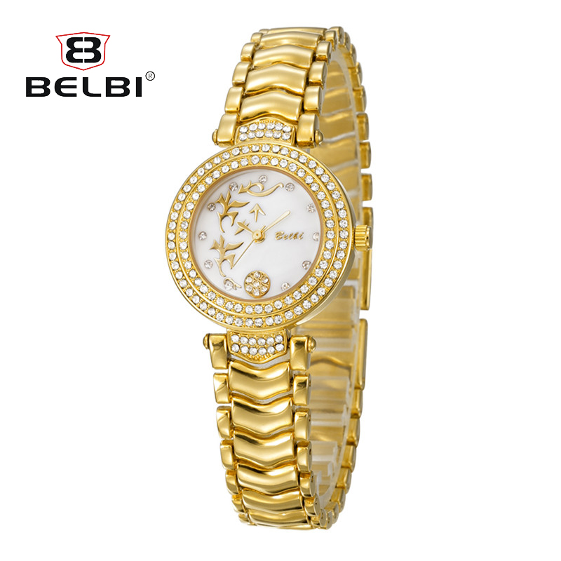 BELBI Women Luxury Watches Brand Special Dial Design for Ladies Diamond Alloy Gold Fashion Dress Waterproof Hodinky Wristwatches