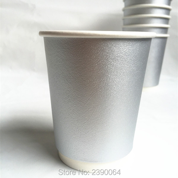 40pcs Disposable Coffee Cups Metallic Silver Party Bar Paper First Birthdays For Wedding