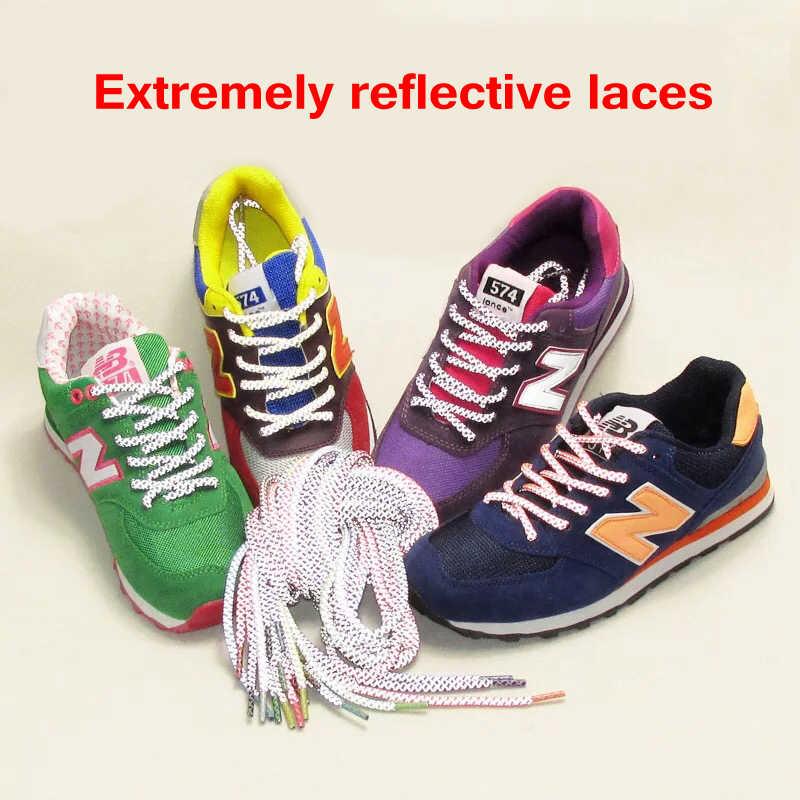 1 paar Fluoreszierende Sneaker Schnürsenkel Sport spitze Polyester Paisley Reflektierende Schnürsenkel Ronds Sichtbar Sicherheit Cordon Schuh Spitze