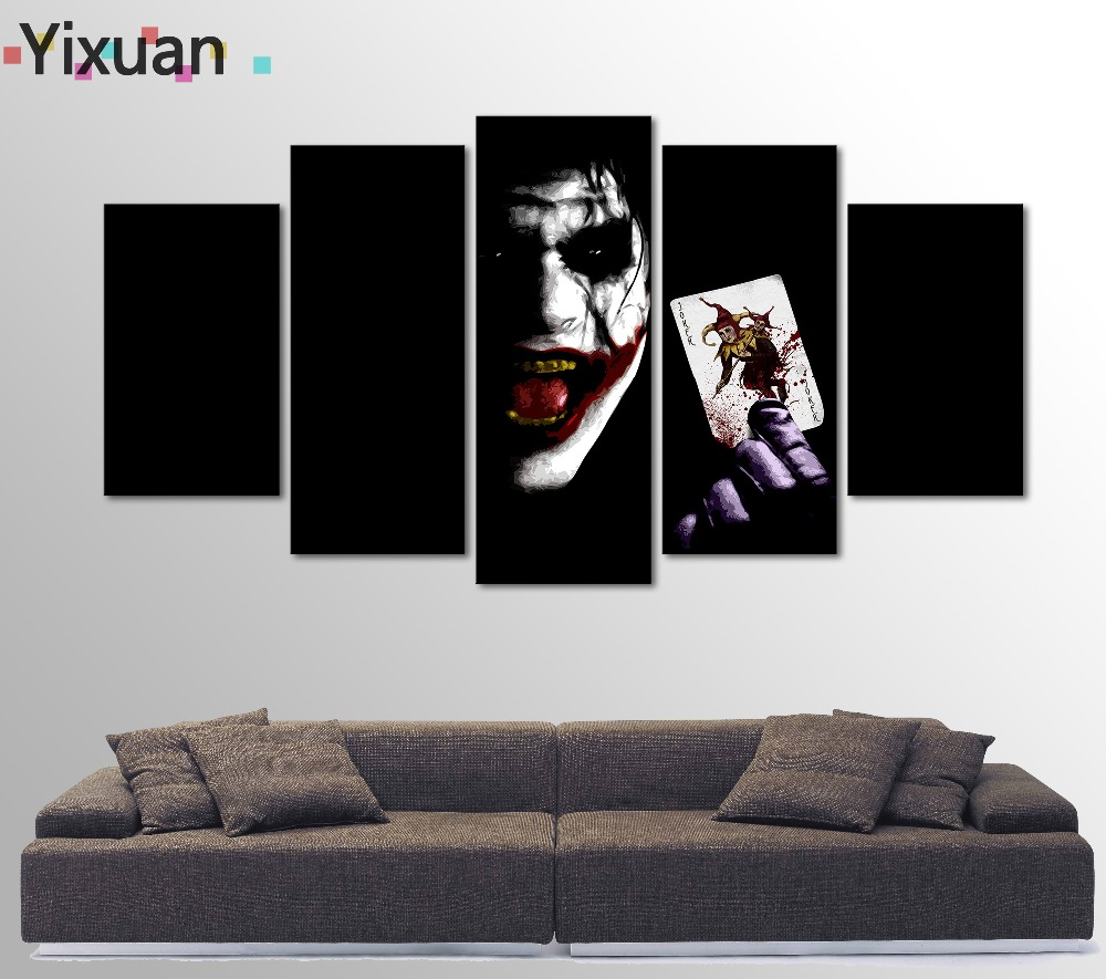 5 Panels High Quality Frame Canvas Painting Decor Playing card Joker Wall Art Painting Modern Home Decor Picture For Living Room
