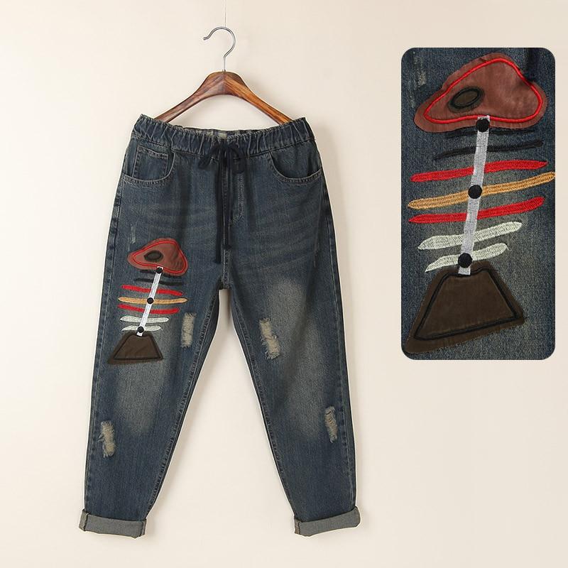 ФОТО Vintage national trend plus size loose fish bone applique jeans female harem pants trousers mm
