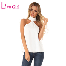 цена на LIVA GIRL Black/White/Red Sleeveless Halter Top with Keyhole Back Women Casual New Solid Sexy Hollow Out Tops for Female Clothes