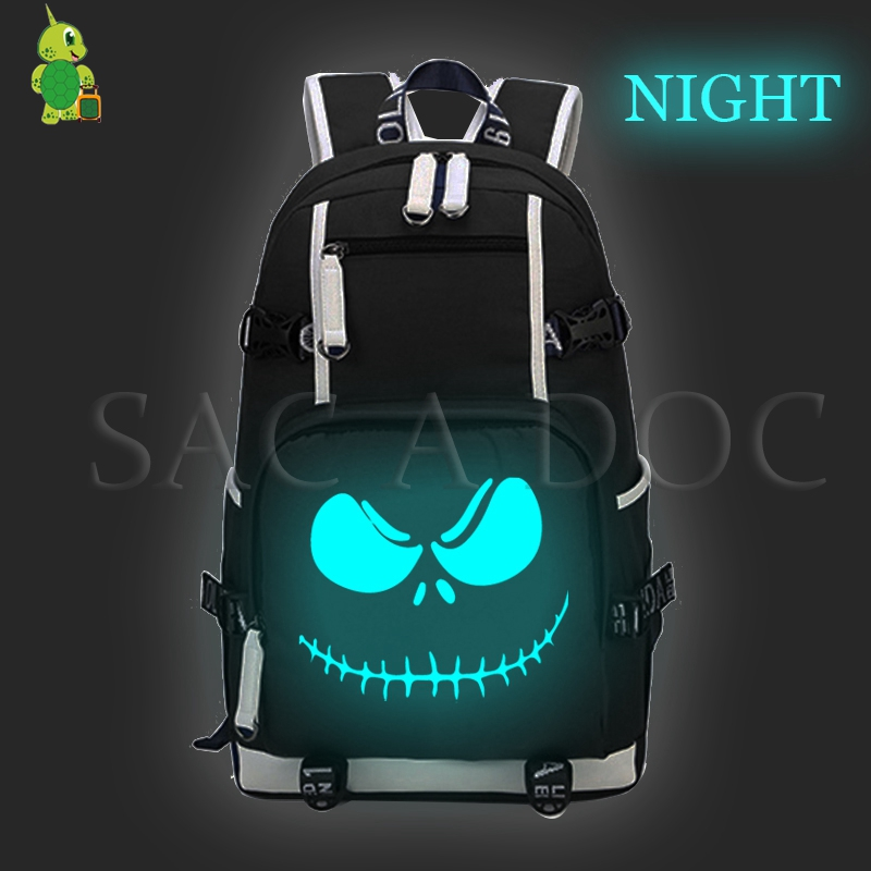 The Nightmare Before Christmas Luminous Backpack for Teenagers Men Women Large Capacity Laptop Backpack Jack Sally Travel BagsThe Nightmare Before Christmas Luminous Backpack for Teenagers Men Women Large Capacity Laptop Backpack Jack Sally Travel Bags