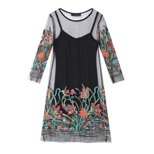 Women Summer Dress 2018 Boho Vintage Floral Embroidery Lace Mesh Mini Dresses Casual See Through Vestidos Plus Size