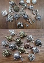 10pcs Mix Style Brass Magic Locket Pearl cage Charms Necklace, Magic box, Fairy Orb locket jewelry Pendant