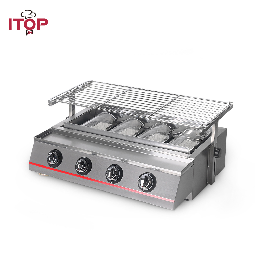 ITOP Gas BBQ Grills ,LPG gas grill ,4 Burners LPG Barbecue Tools For Outdoor Nonstick Roasting Tray Kitchen Tools good used electric gas lpg kebab machine turkish bbq grill gas shawarma making machine