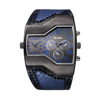 OULM Brand 6 Colors Men Quartz Watches Oulm Double Time Show Snake Band Casual Male Sports