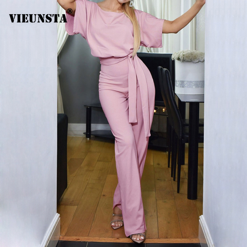 VIEUNSTA OL Style Elegant Women   Jumpsuit   O-Neck Short Sleeve Summer Romper Female Streetwear Overalls Tie Belt Casual Trousers