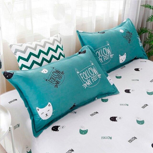 Solstice Home Textile Cyan Cute Cat Kitty Duvet Cover Pillow Case Bed Sheet Boy Kid Teen Girl Bedding Covers Set King Queen Twin 4