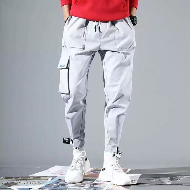 Spring Hip Hop Joggers Men Black Harem Pants Multi-pocket Ribbons M-3XL 2