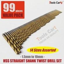 цена на 99PCS HSS Straight Shank BIT SET TWIST DRILLS 1.5MM-10MM Hand Tool  DS-99P