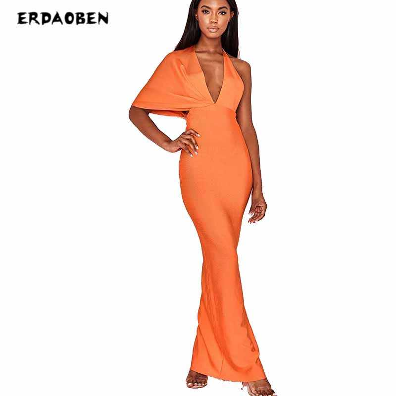 ERDAOBEN Women sexy robe Long  bandage dress for party length longue bodycon dresses backless XD01