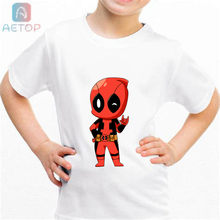 NEW Deadpool 01 Kingdom Funny T-shirt Kids Baby Summer Cute Clothes Boys Girls Tops Deadpool T shirt(China)