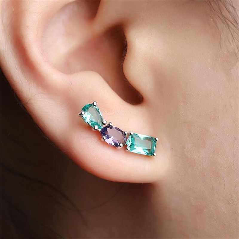 White Black Copper Colorful AAA Cubic Zirconia Stud Earrings Fashion Jewelry Female Wedding Party Gift For Women's Fashion