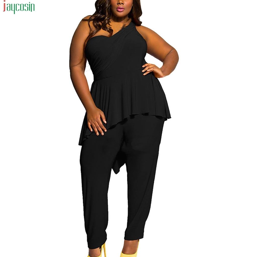 JAYCOSIN Women's Jumpsuit 2020 Plus Size Shoulder Sexy Slim fit Ruffled Trousers Straight pant Jumpsuit Women Trousers female