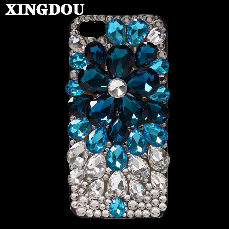 imágenes para Xingduo para iphone 6 case cubierta de bling del diamante cristalino de la flor hecha a mano diy case para iphone 7/7 plus/6 s/6 s plus/5S/se/5c/4S/4