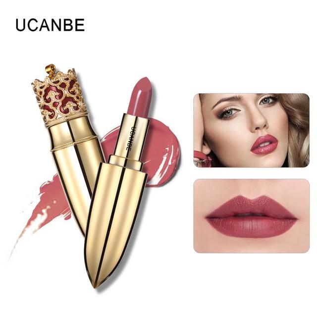 Caliente de oro de lujo mate terciopelo maquillaje lápiz labial corona 4 Color Nude de larga duración pigmento labios palo desnudo cosméticos labio Rouge TSLM1