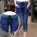 Весна и лето эластичный пояс новый большой размер джинсы середине талия skinny jeans щиколотки брюки синий большой двор обтягивающих брюках ноги