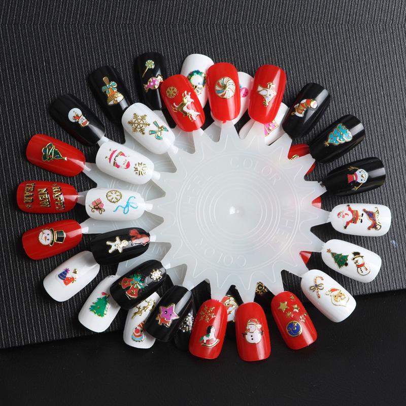 30pcslot christmas nail sticker diy nail decals mix christmas trees snowman elk cartoon christmas designs nails art stickers in stickers decals from
