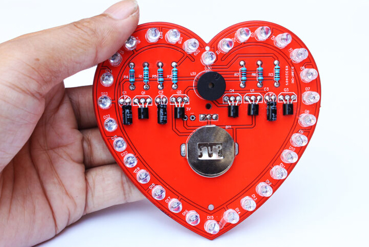 LED heart DIY making kit audion LED red