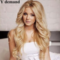 Natural Hairline Bouncy Layered Ombre Honey Long wavy Blonde  Roots Bodywave Heat Resistant Synthetic Hair Lace Front Wigs
