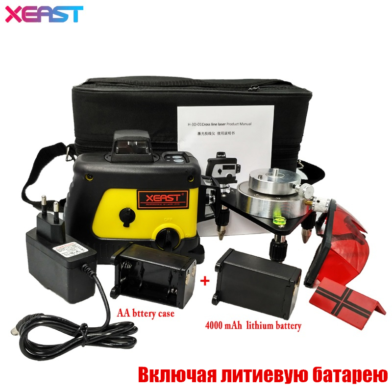 XEAST 12 line laser level 360 Vertical And Horizontal Self-leveling Cross Line 3D Laser Level Red Beam with lithium battery 1pc laser cast line machine multifunction laser line cross line laser rotary laser level 360 selfing leveling 5 line 4v1h3 point