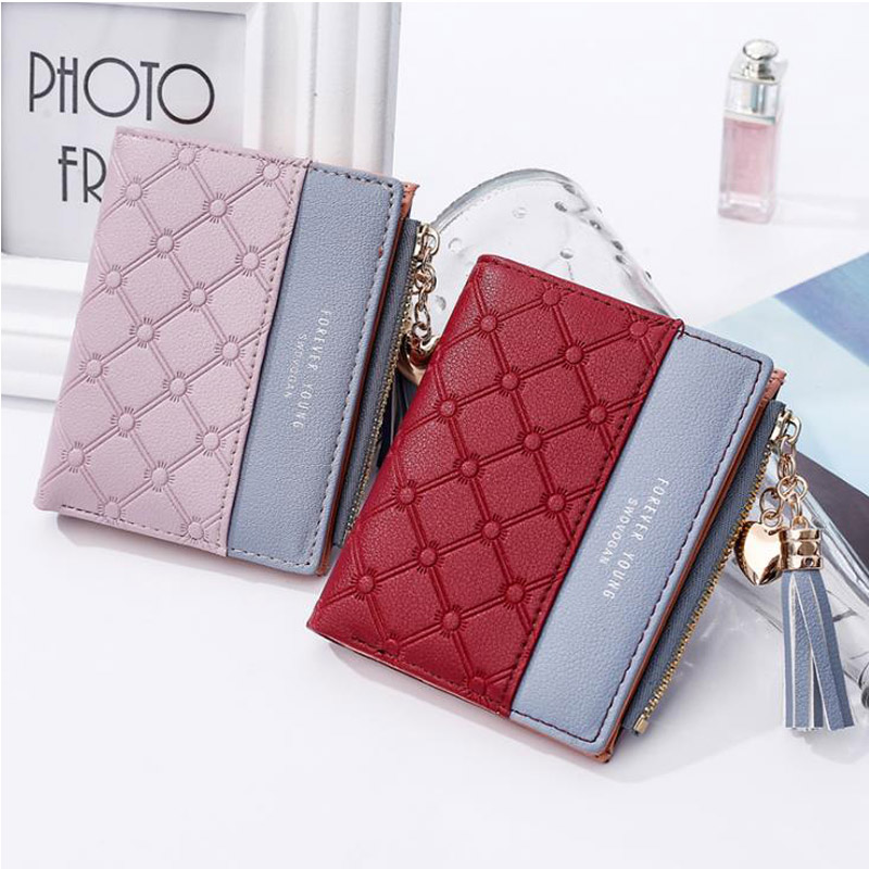New Design Women Wallet Short High Quality Female Zipper Patchwork Clutch Wallets Big Capacity Purse Cellphone Bag Card Holder in Wallets from Luggage Bags