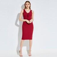 Sisjuly Women Autumn Sweater Dress Girls Sleeveless V Neck Bodycon Knee Length Black Dresses Cotton Red