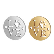 10pcs/lot 316L Stainless Steel Love Letter Connector Gold Silver Tone 12MM Round Disc Coin Charm for DIY Jewelry Making Material 10pcs k786 philip s head screw stainless steel material for diy model making and household sell at a loss usa belarus ukraine