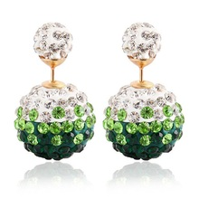 new design summer style fashion brand jewelry Dried Gypsophila double glass beads imitation pearl stud earrings for women S3021
