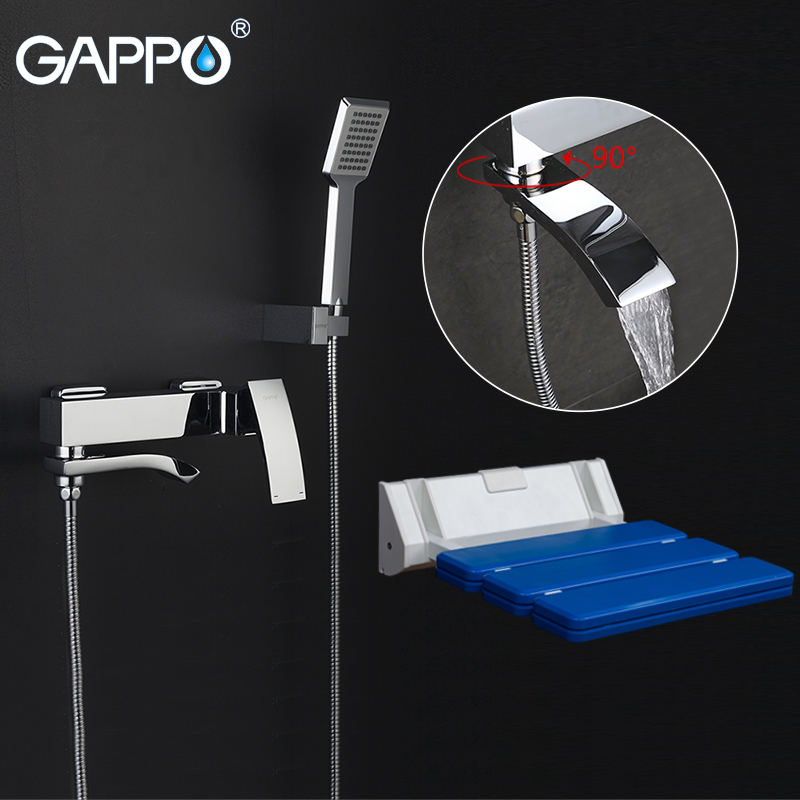 GAPPO Shower Faucets Bath tub taps shower mixer tap Wall Mounted Shower Seats Bath bench Shower System