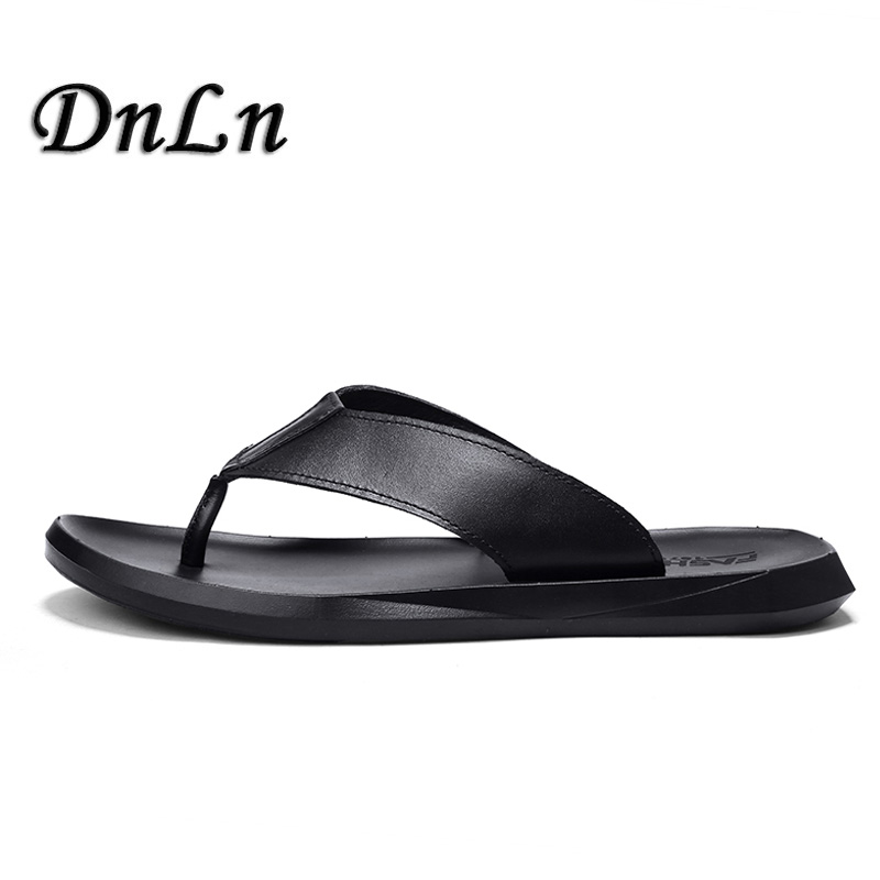 Luxury Brand 2018 New MenS Flip Flops Soft Leather Slippers Summer Fashion Beach Sandals Shoes For Men ZT40