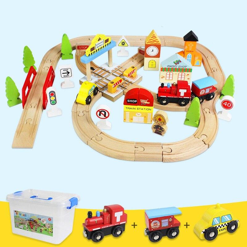 44 pcs EDWONE Train En Bois Piste Diecast Toy Véhicule Enfants Jouet Hêtre Thomas Voie Ferrée